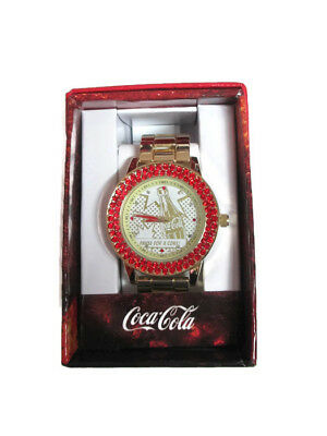 Coca-Cola  Accutime Red Crystal Bevel Watch 42 mm Gold-tone- BRAND NEW