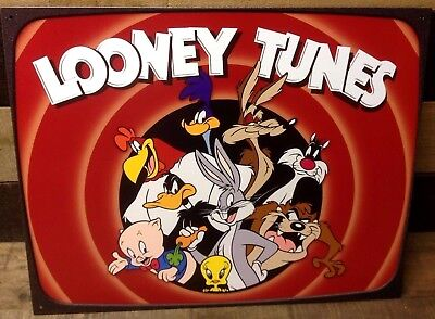Looney Tunes Metal Sign Picture Bugs Taz Porky Wile Daffy Cartoon Wall Art Gift