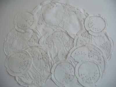 Lovely Set 11 Vintage White Irish Linen Madeira Work Hand Embroidered Table Mats