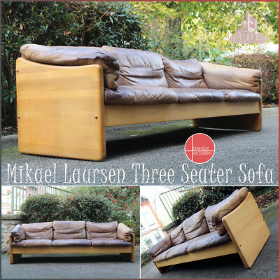 Danish Design Sofa By Mikael Laursen Vintage Mid Century Modern Teak & Leather