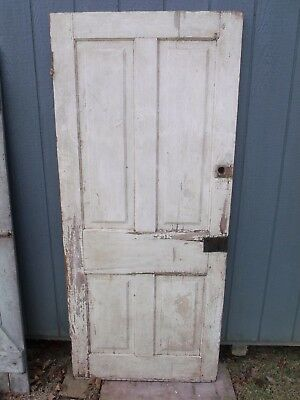 "77.5"" x 34"" Antique wood DOOR salvage from my home Half Eastlake hinge remains"