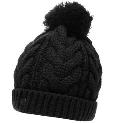 Ladies Womens Soulcal Vesna Black Woolly Knit Knitted Ski Skiing Bobble Beanie