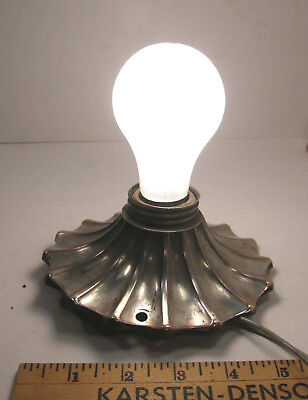 Antique Vintage Silverplate On Copper Single Bulb Ceiling Light Fixture