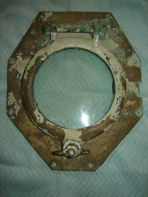 Porthole vintage solid brass 10in x12in