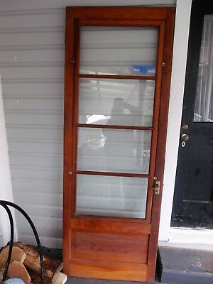 "84.5"" x 30.5 Antique solid WOOD storm door with Perfect Glass no cracks Knob"