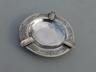 Fine Vintage Vigueras Mexico Hand Stamped Sterling Silver Ashtray Roses 68g