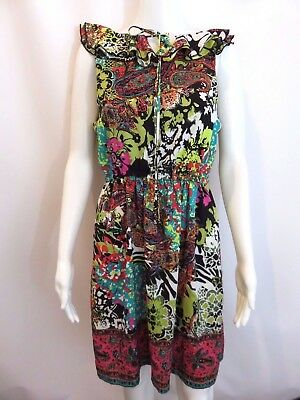 Beige By Eci Floral Paisley Multi Color Dress Size 8