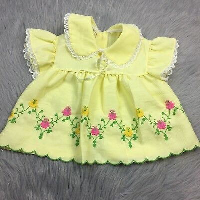 Vintage Baby Girls Toddler Yellow White Lace Pink Floral Flutter Sleeve Top