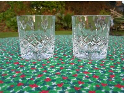 Pair Fab Cut Glass Crystal Whisky Gin etc 6oz Tumbler Glasses 2 are A1 condition