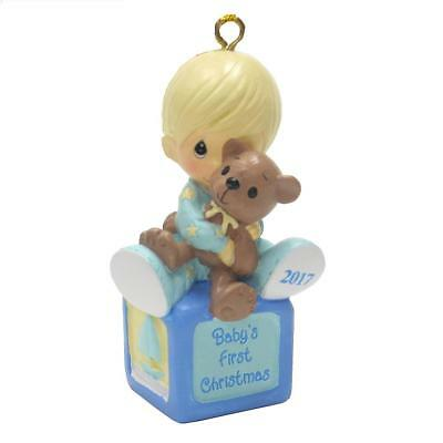 Precious Moments Dated 2017 Baby's First Christmas Ornament for a Boy