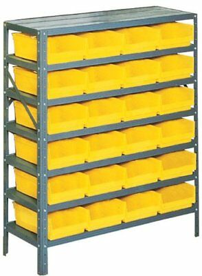 Edsal PB311 Industrial Gray Heavy Duty Steel Shelving Storage Rack with 24 Poly