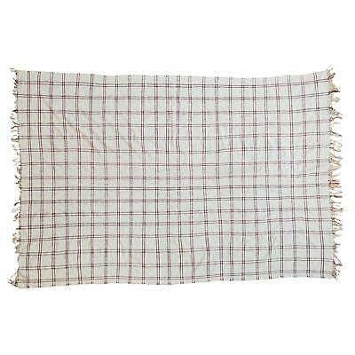 "Appealing Vintage Moroccan Plaid Textile Throw Rug - 4'3"" x 6'3"""