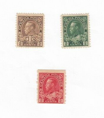 3 Canada 2 Cent Admiral Postage Stamps