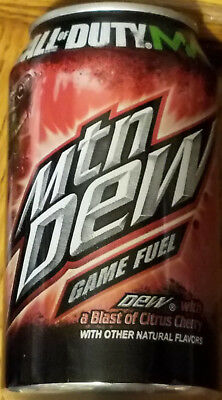 Mountain Dew GAME FUEL Cherry FULL Can Limited Edition 2011 CALL of DUTY MW3