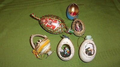 Lot of 6 Vtg Christmas Tree Decorated Hollow Egg Ornaments Handmade Variety