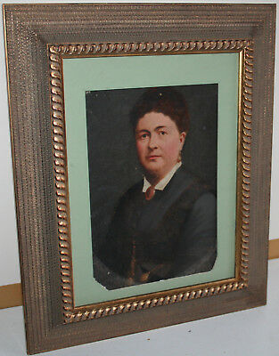Antique 19th Century American School Oil Painting Portrait of Lady