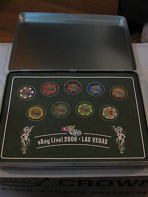 eBay Live 2006 Las Vegas Player Collection Set Of 9 Pins In Metal Case Very Nice