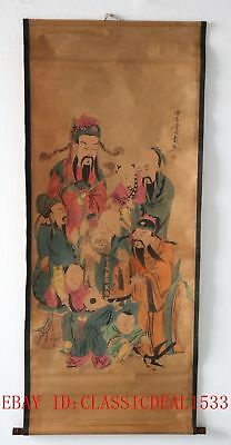 Old Chinese Scroll Painting/ Happiness, Position and Longevity Three Gods ZH1008