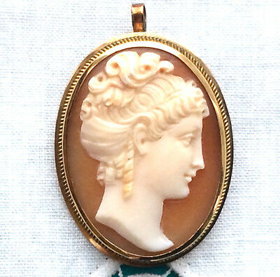 Vintage 14K Carved Shell CAMEO Pin Brooch Pendant YELLOW GOLD Minty  Hand Carved
