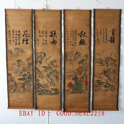 Set Of 4Pcs, Old Collection Scroll Chinese Painting& Calligraph / Season Scenery