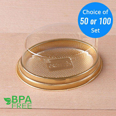 50/100 Gold Base Oval To-Go Platter Cake Bread Container w/ Clear Lid OA