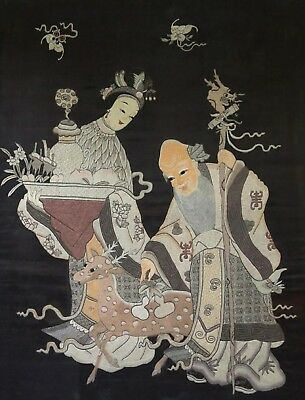 A Very Fine Antique Chinese Silk Embroidery Panel w/ Figures Early 20th  35 x 27