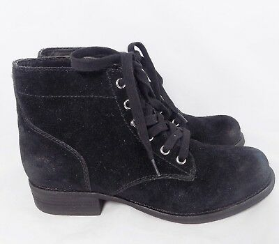 ba1fcc8cdb244 SAM EDELMAN BLEECKER Black Suede Lace Up Ankle Boots    Women s Size ...