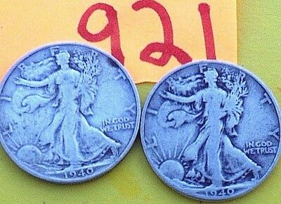 LOT OF TWO 1940 Walkers 50 cents silver half dollars , Philly & San Francisco