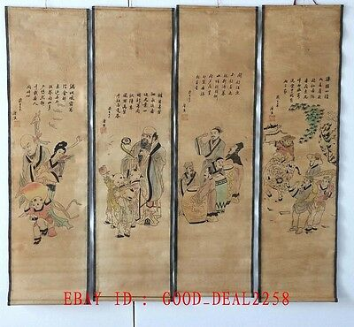A Set of 4 pcs, Old Scroll Chinese Painting / Poetry painting and calligraphy