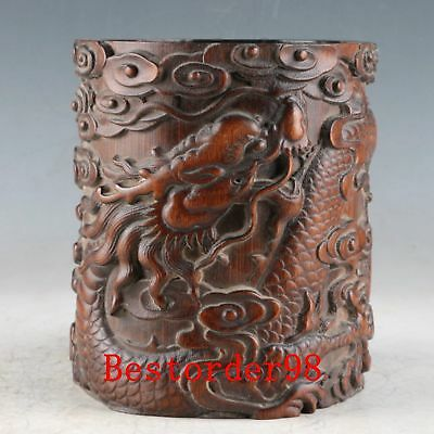 Chinese Exquisite Bamboo Handwork Carved Dragon Brush Pot PC0044