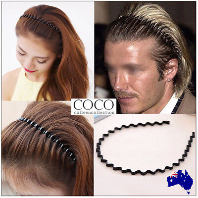 Fashion Men Women Girls Sports Wave HOOP Headband Hair Band Unisex Metal Black