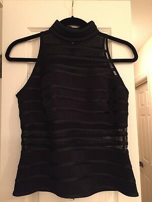 JS Collections Black Mock Turtle Neck Sleeveless Evening  Top Size 8