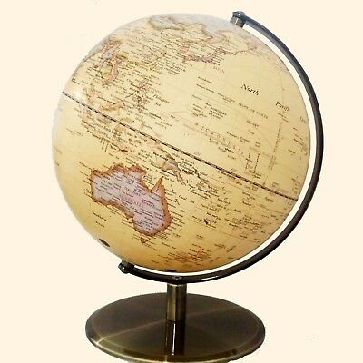 STUNNING World Globe Antique Vintage Embossed Raised Relief Educational 42x30cm