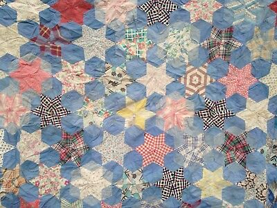 "Vtg Feed Sack Cutter Quilt Top, Star Pattern 70"" X 60"" Blue and Multi Colors"