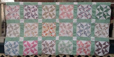 "Exceptional Vtg Feed Sack Quilt Top. Oh, That Green!  86"" X 56"",  Star Puzzle !!"