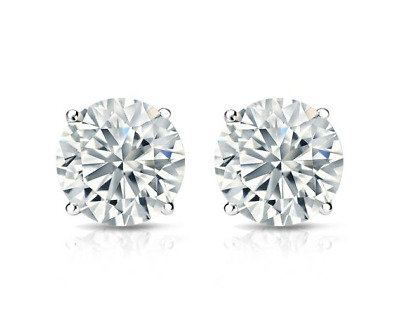 4 Ct Diamond Stud Earrings Round Diamond Solitaire Stud Earrings 14K White Gold