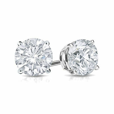 2Ct Diamond Stud Earring Womens Studs 14k White Gold Mens Earrings Round Diamond