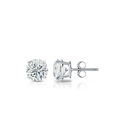 1/4 Ct Diamond Stud Earrings 3MM Round Diamond Solitaire Earrings 14k White Gold