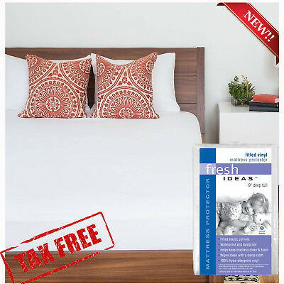 Waterproof Mattress Protector Bed Cover Soft Vinyl For Hypoallergenic Fitted