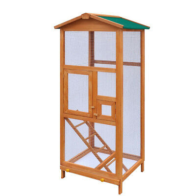 Large Wood Bird Cage with Metal Grid Flight Cages for Finches Bird Aviary W