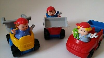 Fisher price little people. earth mover, tip truck and ute