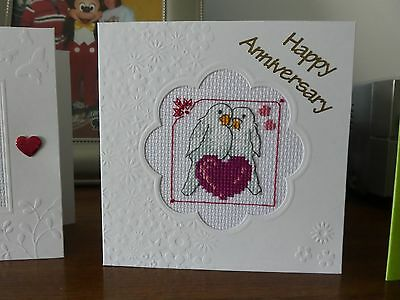 Handmade Cross Stitch Greetings Card - Happy Anniversary - Love Birds