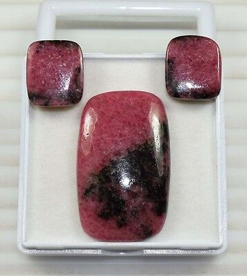 3 Pcs Set ! 78.00 Ct. 100% Natural Reddish Pink Rhodonite Cushion Cab Loose Gems