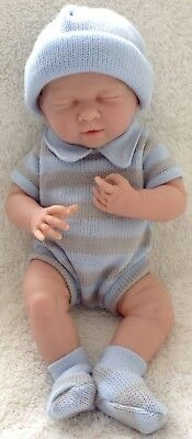 "COLLECTIBLE - Berenguer La Newborn Baby Doll - Blue & Grey Stripes - 38cm (15"")"