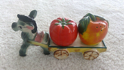 retro salt and pepper shakers towed by a donkey