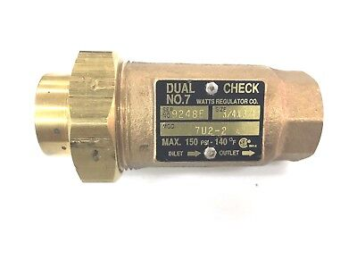 Watts Regulator Co.Mod. 7U2-2 Dual Check Valve No. 7  3/4 in. X 3/4 in.  150 psi