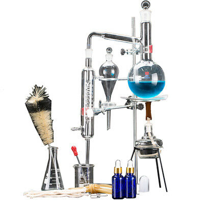 New 500ml Lab  Essential Oil Distillation Apparatus Water Pure Glassware Kits