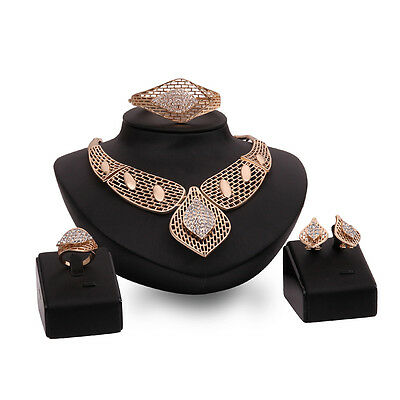 Gold Crystal Rhinestone Statement Jewelry Set Necklace Bracelet Earrings Ring