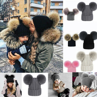 Mom&Newborn Baby Boy Girls Winter Warm Hat Big Double Fur Pom Bobble Knit Cap UK