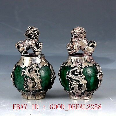 Collectible Decor Old Jade&a Pair Silver The lion Dragon  Statue   ZJ20